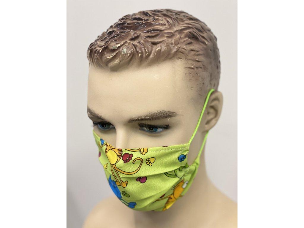 Hygienická rouška bavlněná zelená vzor zvířátka