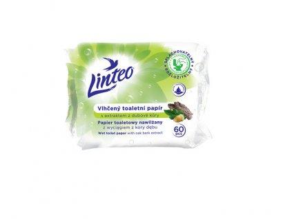 Vlhčený toaletní papír Linteo s extraktem z dubové kůry splachovatelný, 60ks